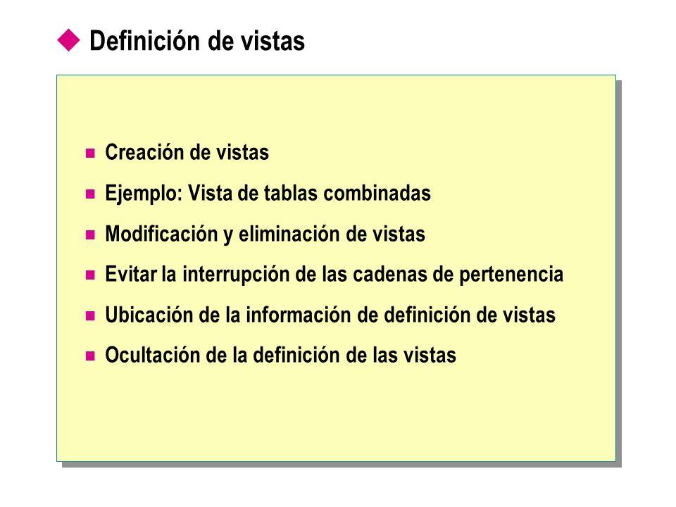 Creación de vistas Creación de una vista Restricciones en las definiciones de vistas No se puede incluir la cláusula ORDER BY No se puede incluir la palabra clave INTO CREATE VIEW dbo.OrderSubtotalsView (OrderID, Subtotal) AS SELECT OD.OrderID, SUM(CONVERT(money,(OD.UnitPrice*Quantity*(1-Discount)/100))*100) FROM [Order Details] OD GROUP BY OD.OrderID GO CREATE VIEW dbo.OrderSubtotalsView (OrderID, Subtotal) AS SELECT OD.OrderID, SUM(CONVERT(money,(OD.UnitPrice*Quantity*(1-Discount)/100))*100) FROM [Order Details] OD GROUP BY OD.OrderID GO