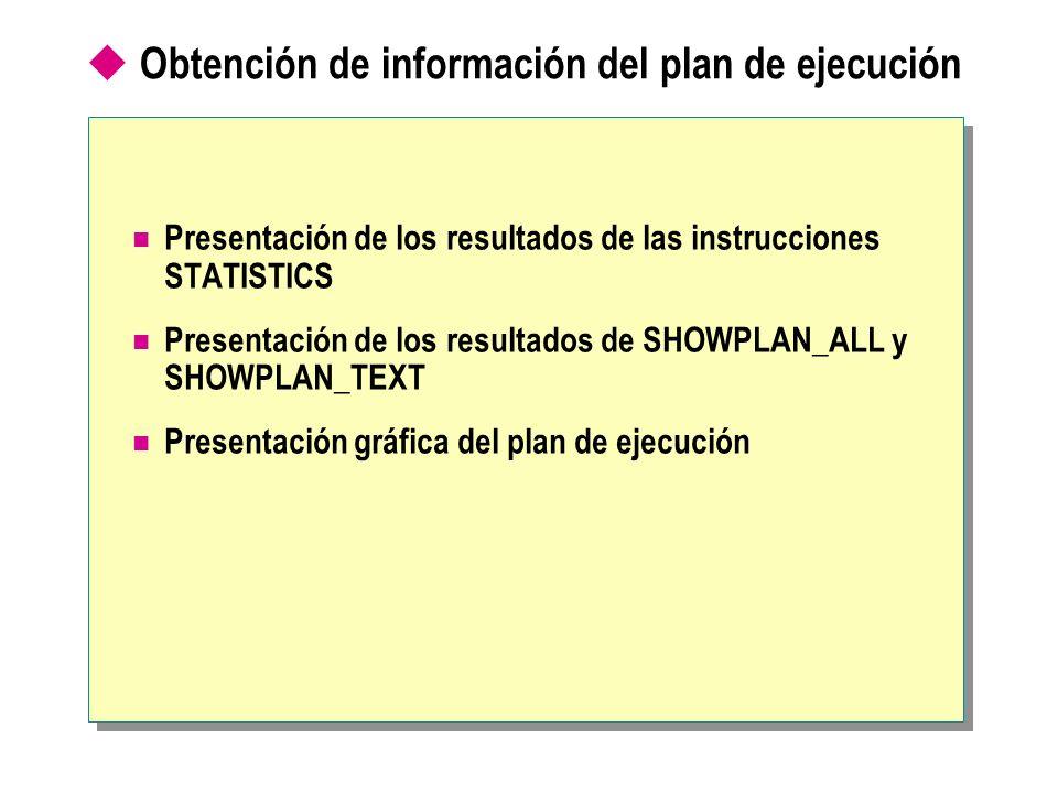 Obtención de información del plan de ejecución Presentación de los resultados de las instrucciones STATISTICS Presentación de los resultados de SHOWPL
