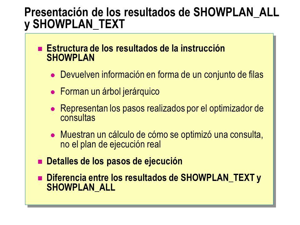 Presentación de los resultados de SHOWPLAN_ALL y SHOWPLAN_TEXT Estructura de los resultados de la instrucción SHOWPLAN Devuelven información en forma