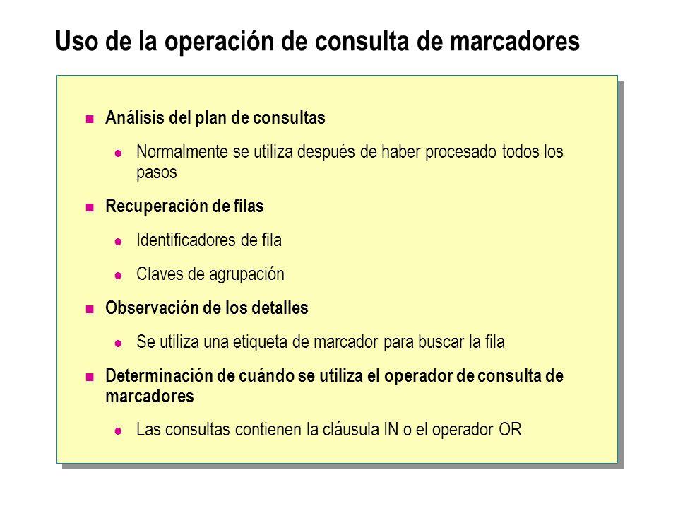 Uso de la operación de consulta de marcadores Análisis del plan de consultas Normalmente se utiliza después de haber procesado todos los pasos Recuper