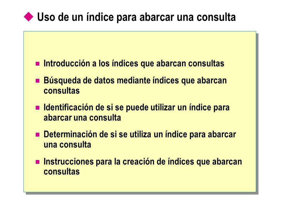 Uso de un índice para abarcar una consulta Introducción a los índices que abarcan consultas Búsqueda de datos mediante índices que abarcan consultas I