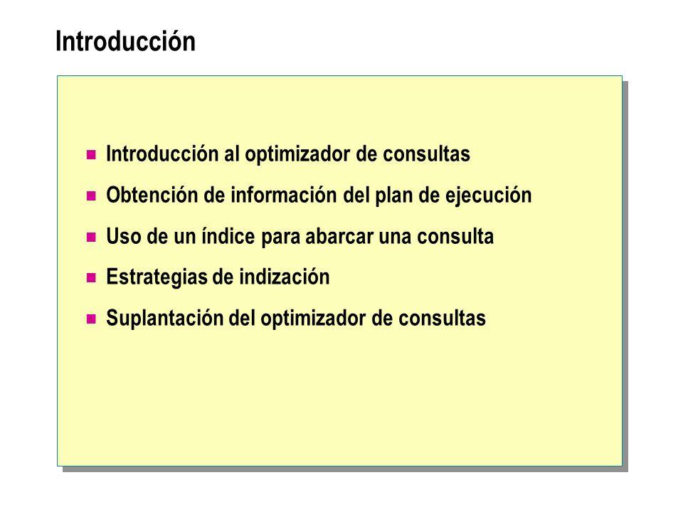Introducción Introducción al optimizador de consultas Obtención de información del plan de ejecución Uso de un índice para abarcar una consulta Estrat