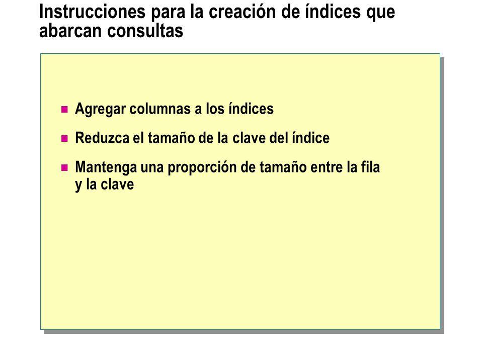 Instrucciones para la creación de índices que abarcan consultas Agregar columnas a los índices Reduzca el tamaño de la clave del índice Mantenga una p