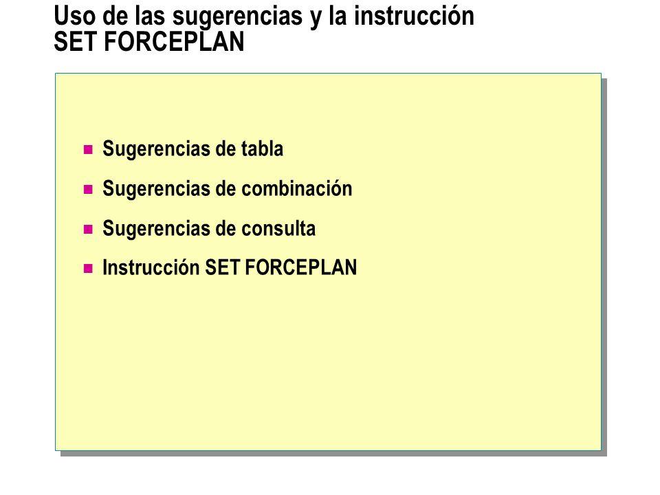 Uso de las sugerencias y la instrucción SET FORCEPLAN Sugerencias de tabla Sugerencias de combinación Sugerencias de consulta Instrucción SET FORCEPLA