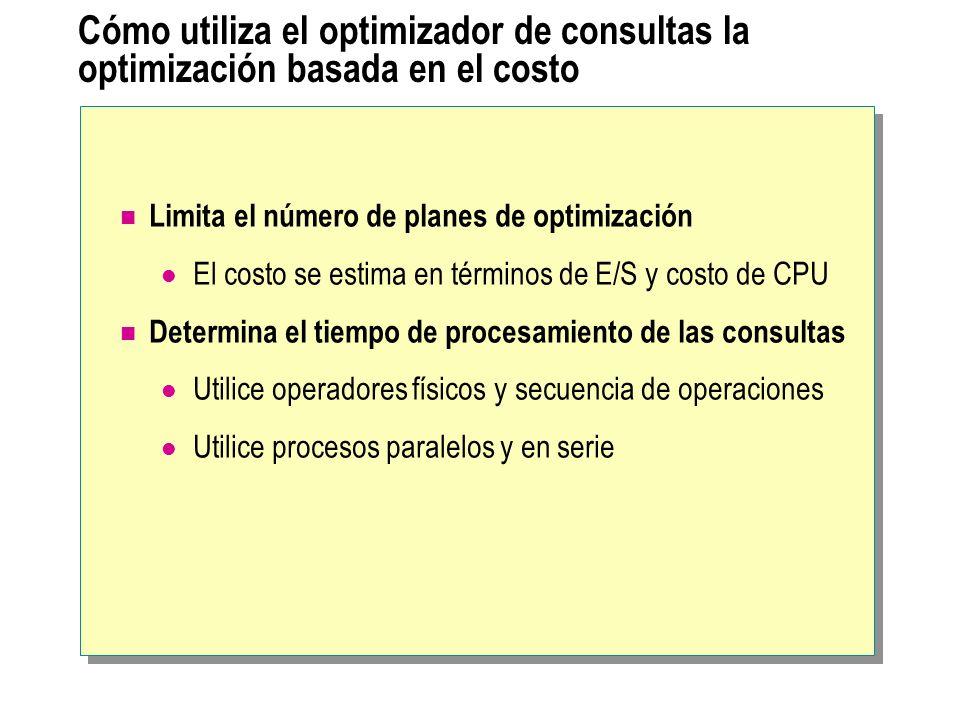 Cómo utiliza el optimizador de consultas la optimización basada en el costo Limita el número de planes de optimización El costo se estima en términos