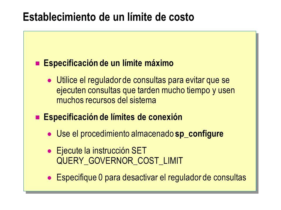 Establecimiento de un límite de costo Especificación de un límite máximo Utilice el regulador de consultas para evitar que se ejecuten consultas que t