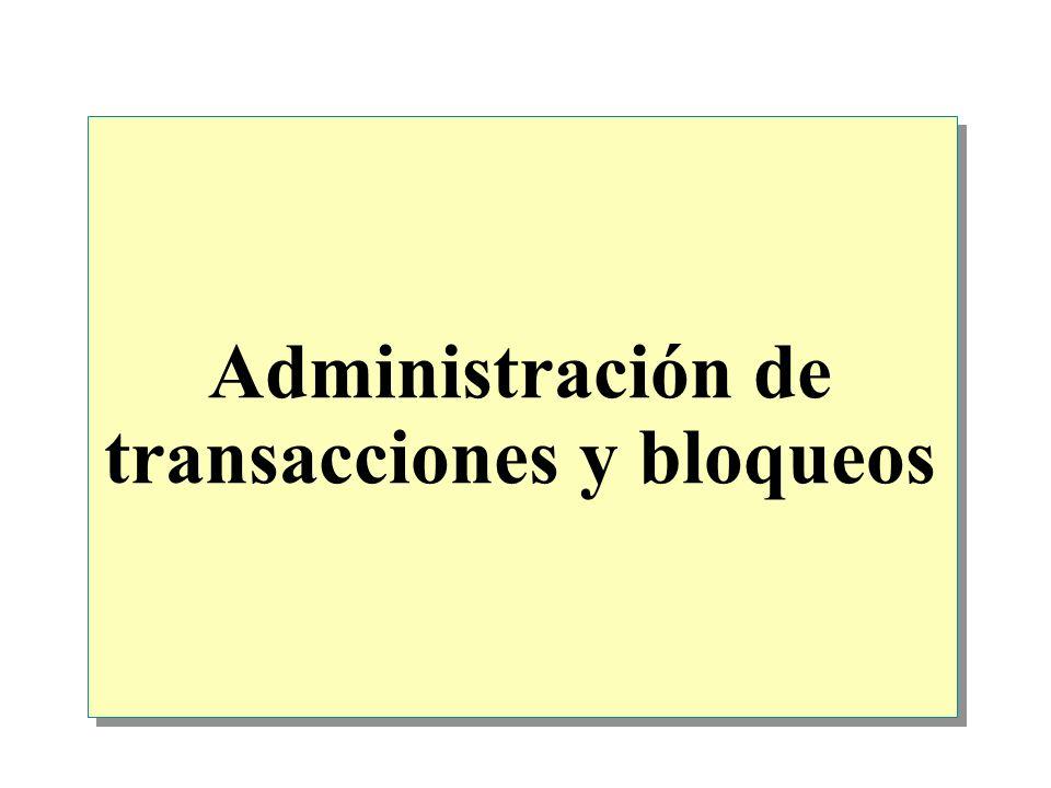 Introducción Introducción a las transacciones y los bloqueos Administración de las transacciones Bloqueos en SQL Server Administración de los bloqueos