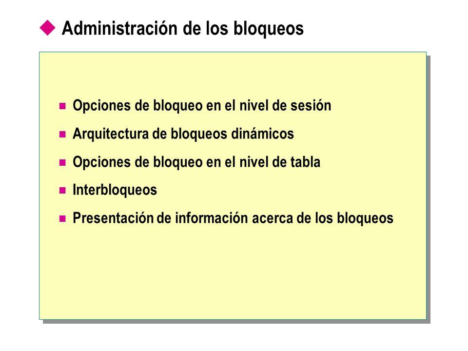 Opciones de bloqueo en el nivel de sesión Arquitectura de bloqueos dinámicos Opciones de bloqueo en el nivel de tabla Interbloqueos Presentación de in