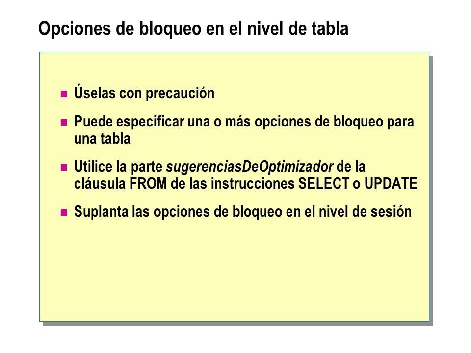 Opciones de bloqueo en el nivel de tabla Úselas con precaución Puede especificar una o más opciones de bloqueo para una tabla Utilice la parte sugeren