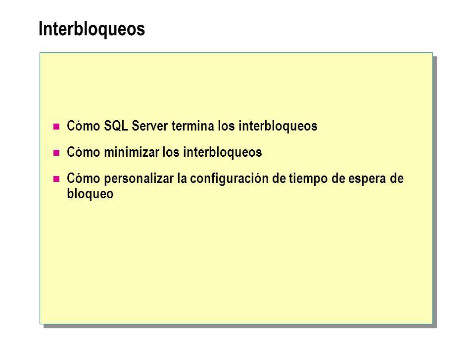 Interbloqueos Cómo SQL Server termina los interbloqueos Cómo minimizar los interbloqueos Cómo personalizar la configuración de tiempo de espera de blo