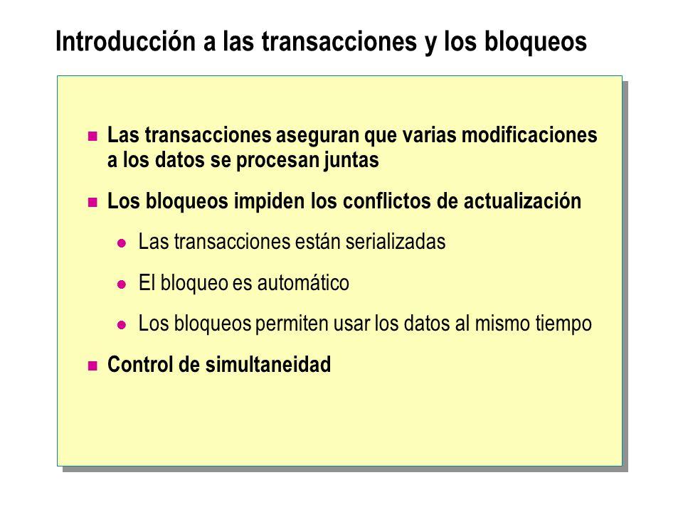 Introducción a las transacciones y los bloqueos Las transacciones aseguran que varias modificaciones a los datos se procesan juntas Los bloqueos impid