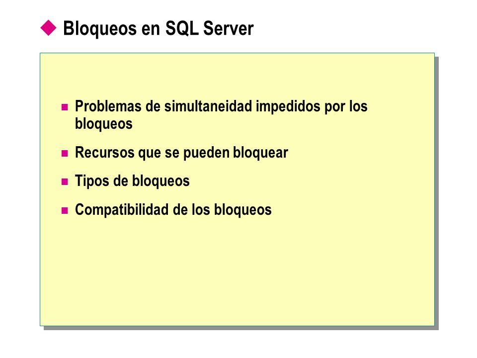 Bloqueos en SQL Server Problemas de simultaneidad impedidos por los bloqueos Recursos que se pueden bloquear Tipos de bloqueos Compatibilidad de los b