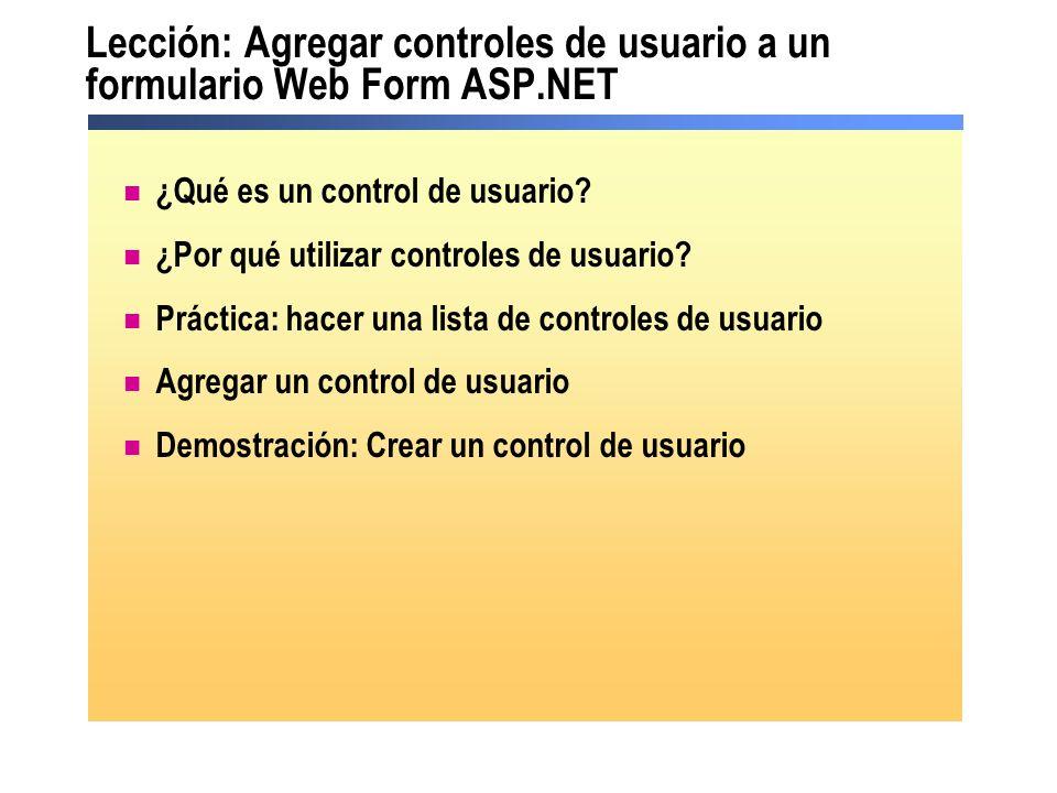 ¿Qué es un control de usuario.