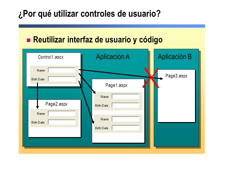 Práctica: hacer una lista de controles de usuario Los estudiantes: Crearán una lista de ejemplos sobre cuándo resulta apropiado el uso de controles de usuario Tiempo: 5 minutos