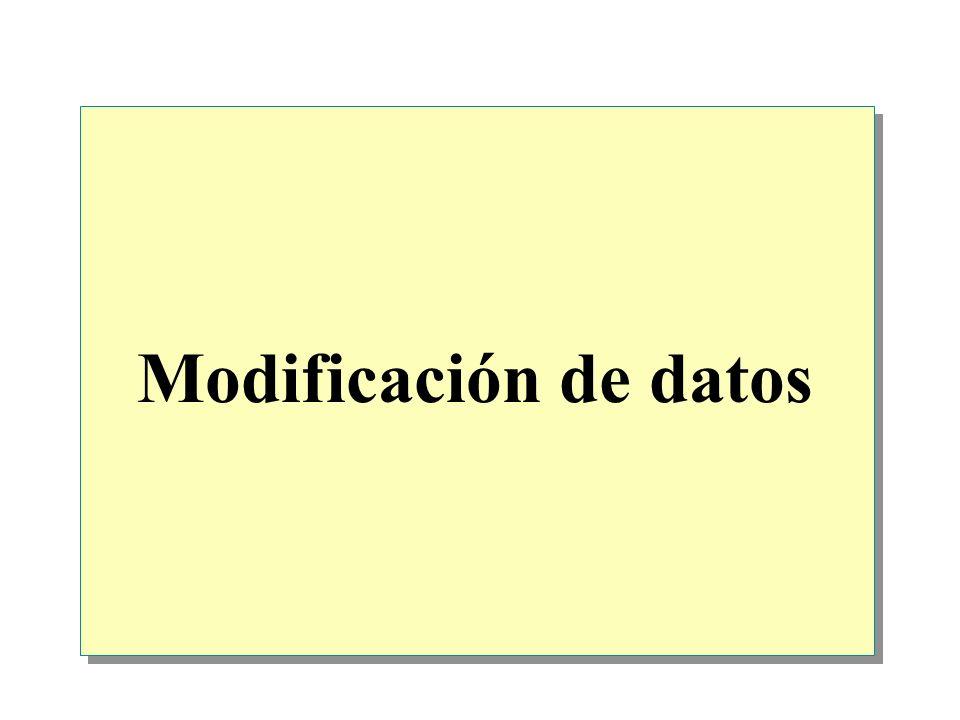 Introducción Uso de transacciones Inserción de datos Eliminación de datos Actualización de datos Consideraciones acerca del rendimiento