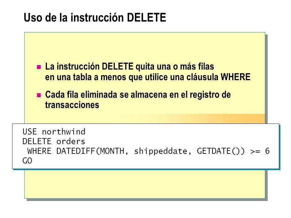Uso de la instrucción DELETE La instrucción DELETE quita una o más filas en una tabla a menos que utilice una cláusula WHERE Cada fila eliminada se almacena en el registro de transacciones USE northwind DELETE orders WHERE DATEDIFF(MONTH, shippeddate, GETDATE()) >= 6 GO USE northwind DELETE orders WHERE DATEDIFF(MONTH, shippeddate, GETDATE()) >= 6 GO