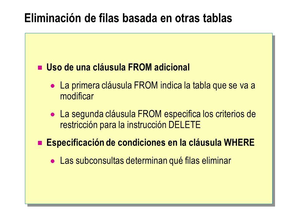 Eliminación de filas basada en otras tablas Uso de una cláusula FROM adicional La primera cláusula FROM indica la tabla que se va a modificar La segunda cláusula FROM especifica los criterios de restricción para la instrucción DELETE Especificación de condiciones en la cláusula WHERE Las subconsultas determinan qué filas eliminar