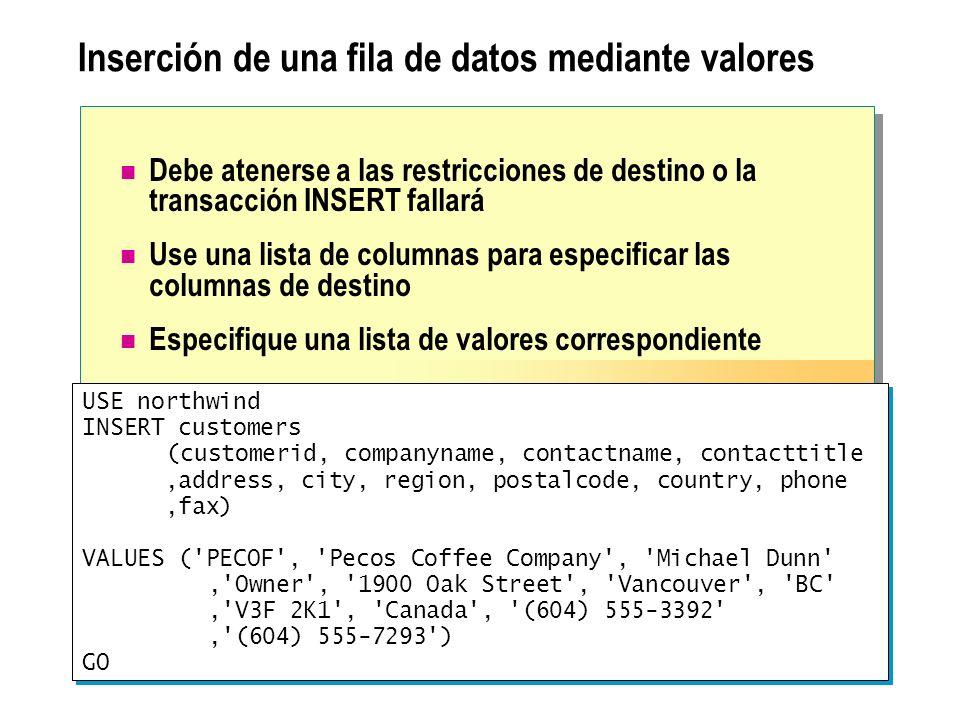 Actualización de filas basada en otras tablas Uso de la instrucción UPDATE Nunca actualiza la misma fila dos veces Requiere prefijos de tablas en nombres de columnas ambiguos Especificación de filas para actualizar con combinaciones Utilice la cláusula FROM Especificación de filas para actualizar con subconsultas Correlacione la subconsulta con la tabla actualizada