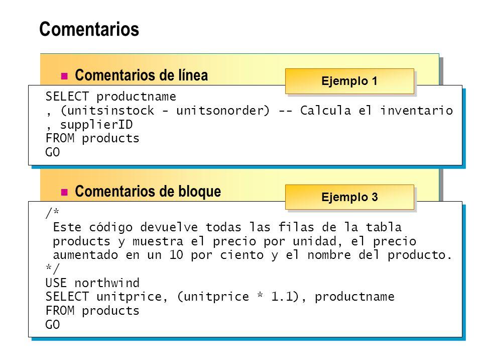 Comentarios Comentarios de línea Comentarios de bloque SELECT productname, (unitsinstock - unitsonorder) -- Calcula el inventario, supplierID FROM pro