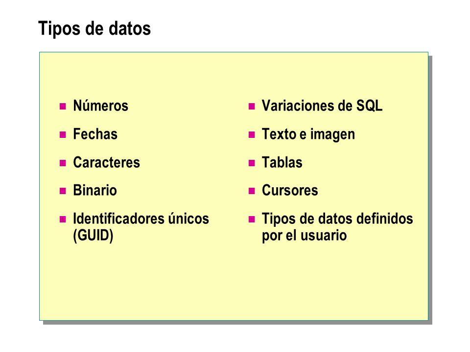 Tipos de datos Números Fechas Caracteres Binario Identificadores únicos (GUID) Variaciones de SQL Texto e imagen Tablas Cursores Tipos de datos defini