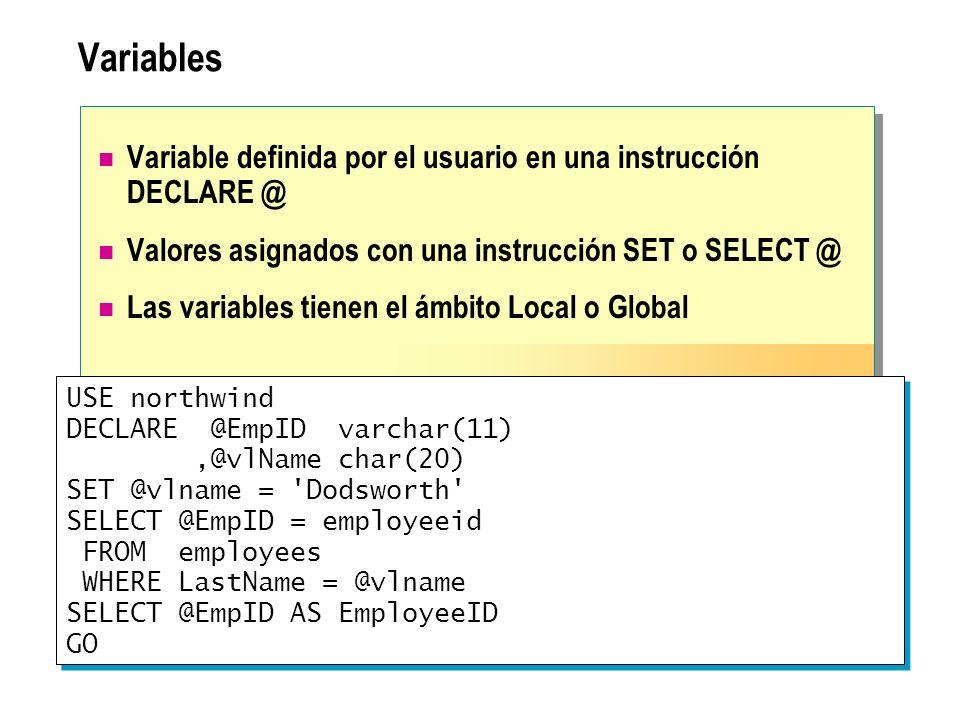 Variables Variable definida por el usuario en una instrucción DECLARE @ Valores asignados con una instrucción SET o SELECT @ Las variables tienen el á