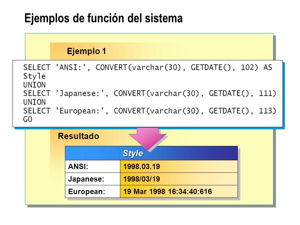 Ejemplos de función del sistema SELECT 'ANSI:', CONVERT(varchar(30), GETDATE(), 102) AS Style UNION SELECT 'Japanese:', CONVERT(varchar(30), GETDATE()