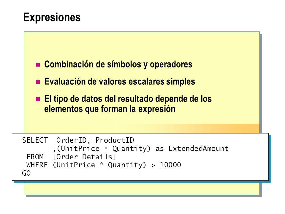 Expresiones Combinación de símbolos y operadores Evaluación de valores escalares simples El tipo de datos del resultado depende de los elementos que f