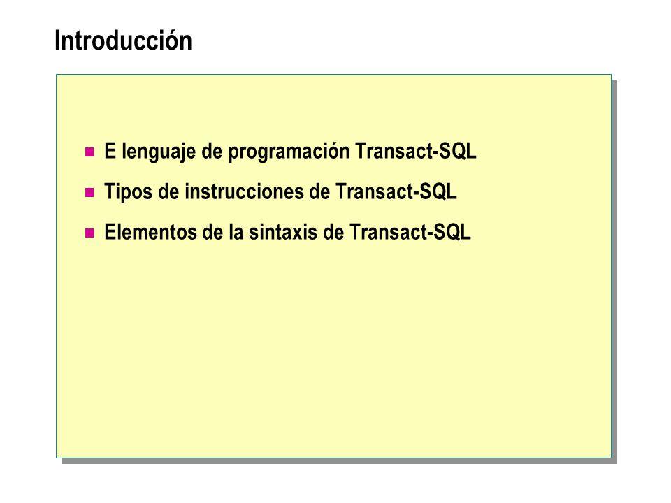 Introducción E lenguaje de programación Transact-SQL Tipos de instrucciones de Transact-SQL Elementos de la sintaxis de Transact-SQL