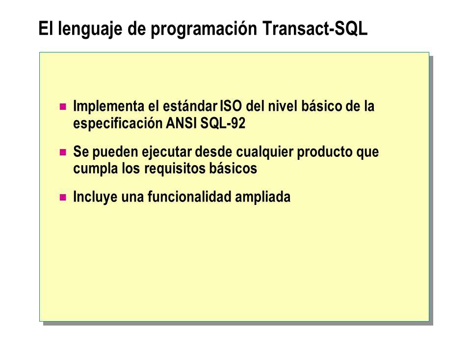 El lenguaje de programación Transact-SQL Implementa el estándar ISO del nivel básico de la especificación ANSI SQL-92 Se pueden ejecutar desde cualqui