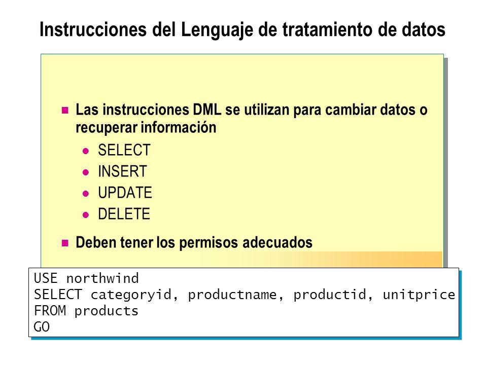 Instrucciones del Lenguaje de tratamiento de datos Las instrucciones DML se utilizan para cambiar datos o recuperar información SELECT INSERT UPDATE D