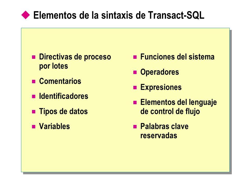 Elementos de la sintaxis de Transact-SQL Directivas de proceso por lotes Comentarios Identificadores Tipos de datos Variables Funciones del sistema Op
