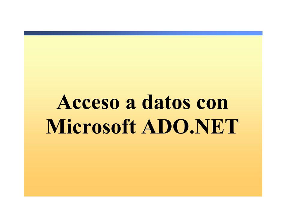 Crear un DataSet Crear y poblar un DataSet con DataTables El método Fill ejecuta el SelectCommand Acceder a DataTable Dim ds As New DataSet() da.Fill(ds, Authors ) Dim ds As New DataSet() da.Fill(ds, Authors ) Dim r As DataRow Dim str As String For Each r in _ ds.Tables( Authors ).Rows str &= r(2) str &= r( au_lname ) Next Dim r As DataRow Dim str As String For Each r in _ ds.Tables( Authors ).Rows str &= r(2) str &= r( au_lname ) Next ds.Tables( Authors ).Rows.Count DataSet ds = new DataSet(); da.Fill(ds, Authors ); DataSet ds = new DataSet(); da.Fill(ds, Authors ); ds.Tables[ Authors ].Rows.Count; string str= ; foreach(DataRow r in ds.Tables[ Authors ].Rows) { str += r[2]; str += r[ au_lname ]; } string str= ; foreach(DataRow r in ds.Tables[ Authors ].Rows) { str += r[2]; str += r[ au_lname ]; }