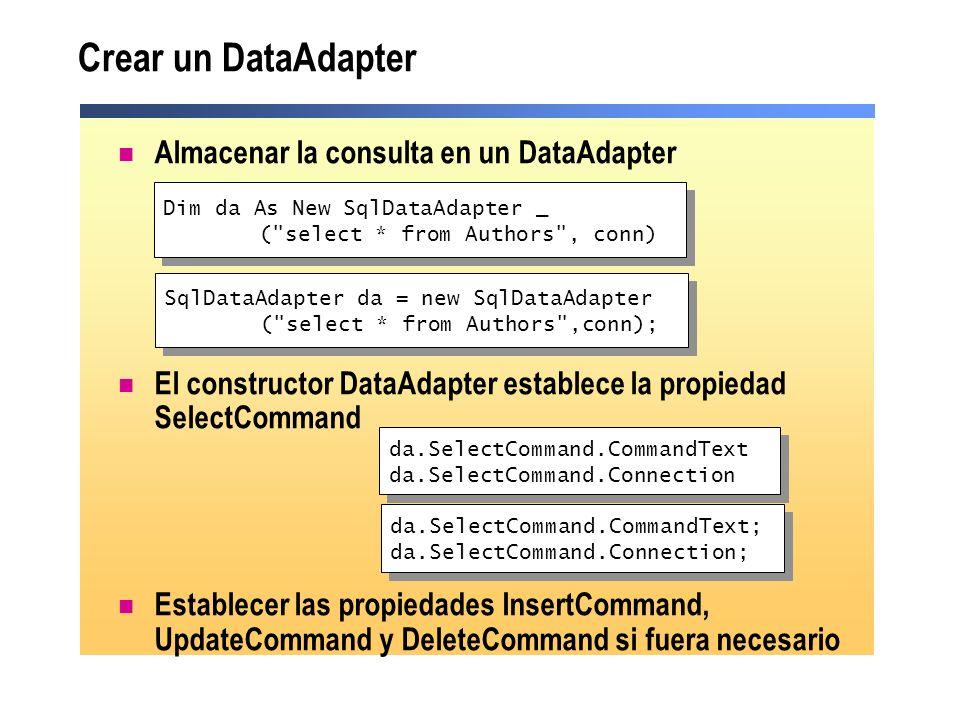 Almacenar la consulta en un DataAdapter El constructor DataAdapter establece la propiedad SelectCommand Establecer las propiedades InsertCommand, Upda