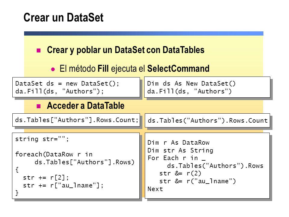 Crear un DataSet Crear y poblar un DataSet con DataTables El método Fill ejecuta el SelectCommand Acceder a DataTable Dim ds As New DataSet() da.Fill(