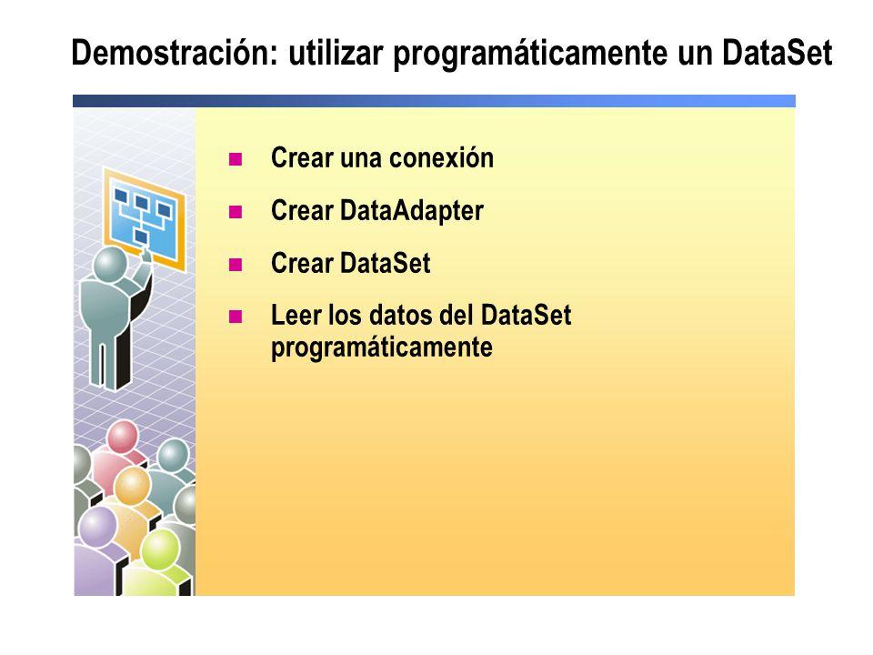 Demostración: utilizar programáticamente un DataSet Crear una conexión Crear DataAdapter Crear DataSet Leer los datos del DataSet programáticamente