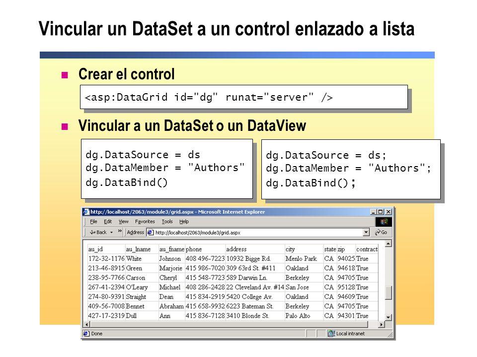 Vincular un DataSet a un control enlazado a lista Crear el control Vincular a un DataSet o un DataView dg.DataSource = ds dg.DataMember =