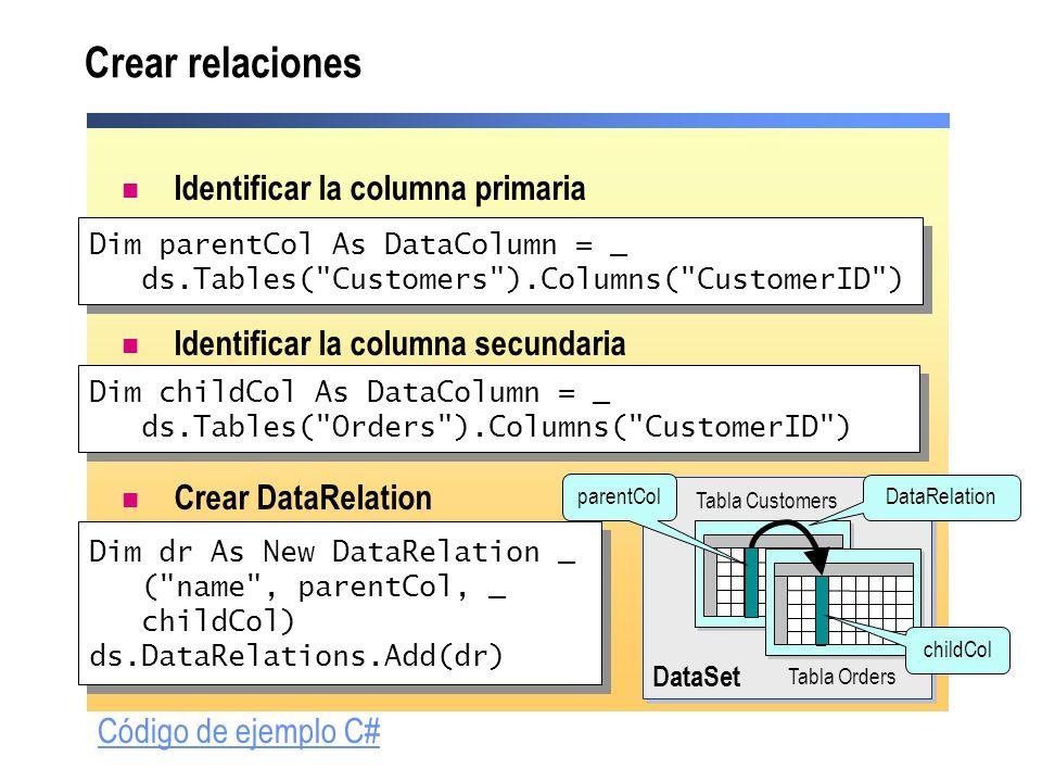 Crear relaciones Identificar la columna primaria Identificar la columna secundaria Crear DataRelation Dim dr As New DataRelation _ (