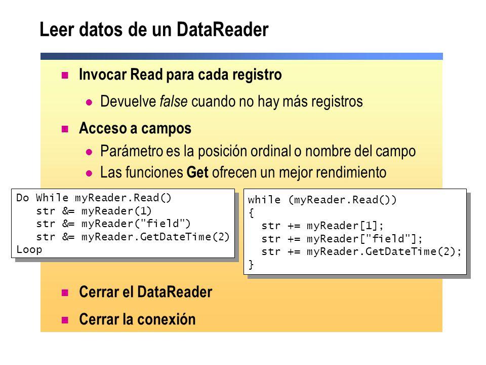 Leer datos de un DataReader Invocar Read para cada registro Devuelve false cuando no hay más registros Acceso a campos Parámetro es la posición ordina