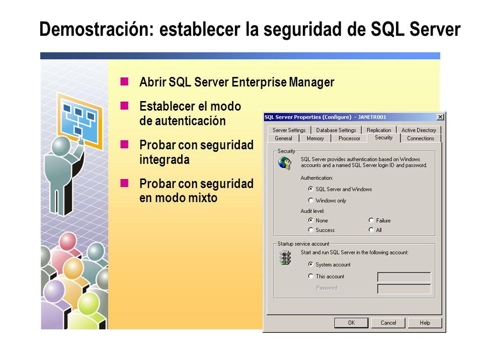 Demostración: establecer la seguridad de SQL Server Abrir SQL Server Enterprise Manager Establecer el modo de autenticación Probar con seguridad integ