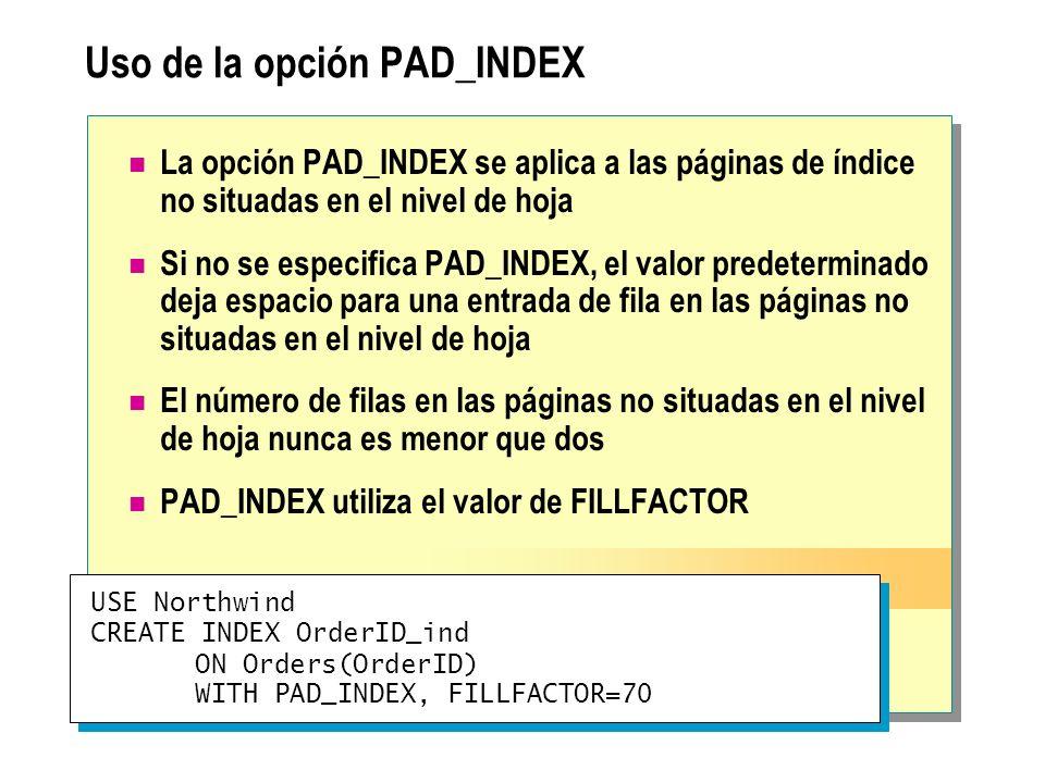Uso de la opción PAD_INDEX La opción PAD_INDEX se aplica a las páginas de índice no situadas en el nivel de hoja Si no se especifica PAD_INDEX, el val