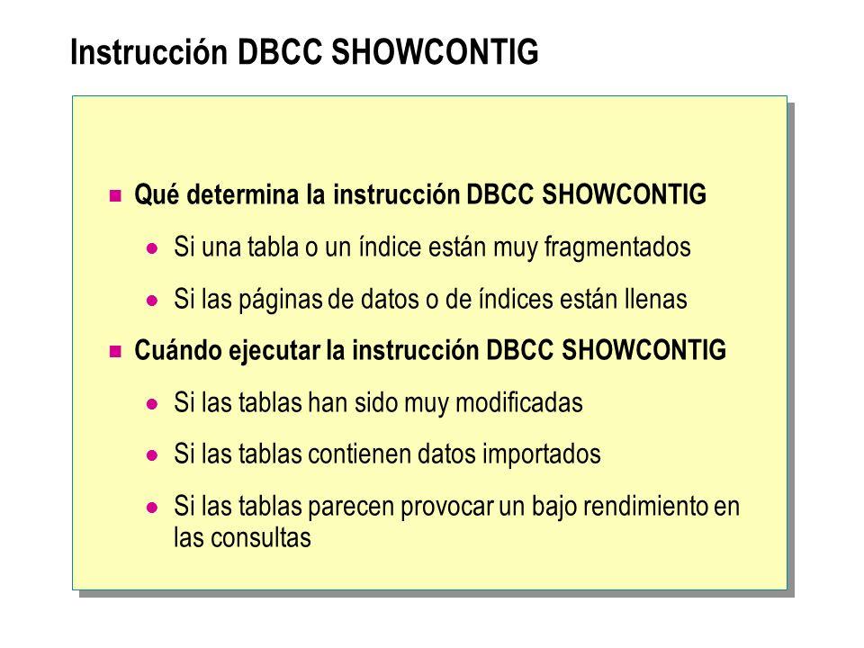 Instrucción DBCC SHOWCONTIG Qué determina la instrucción DBCC SHOWCONTIG Si una tabla o un índice están muy fragmentados Si las páginas de datos o de