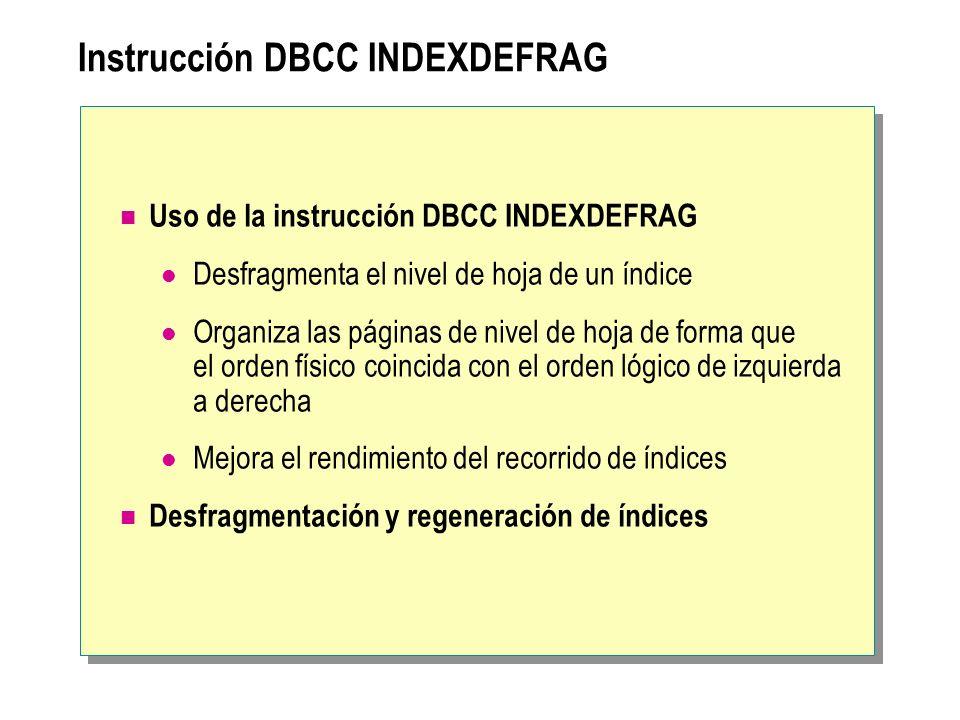 Instrucción DBCC INDEXDEFRAG Uso de la instrucción DBCC INDEXDEFRAG Desfragmenta el nivel de hoja de un índice Organiza las páginas de nivel de hoja d