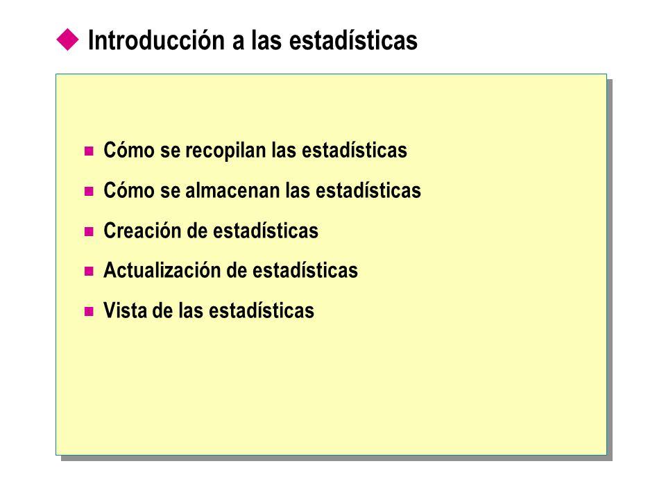 Introducción a las estadísticas Cómo se recopilan las estadísticas Cómo se almacenan las estadísticas Creación de estadísticas Actualización de estadí