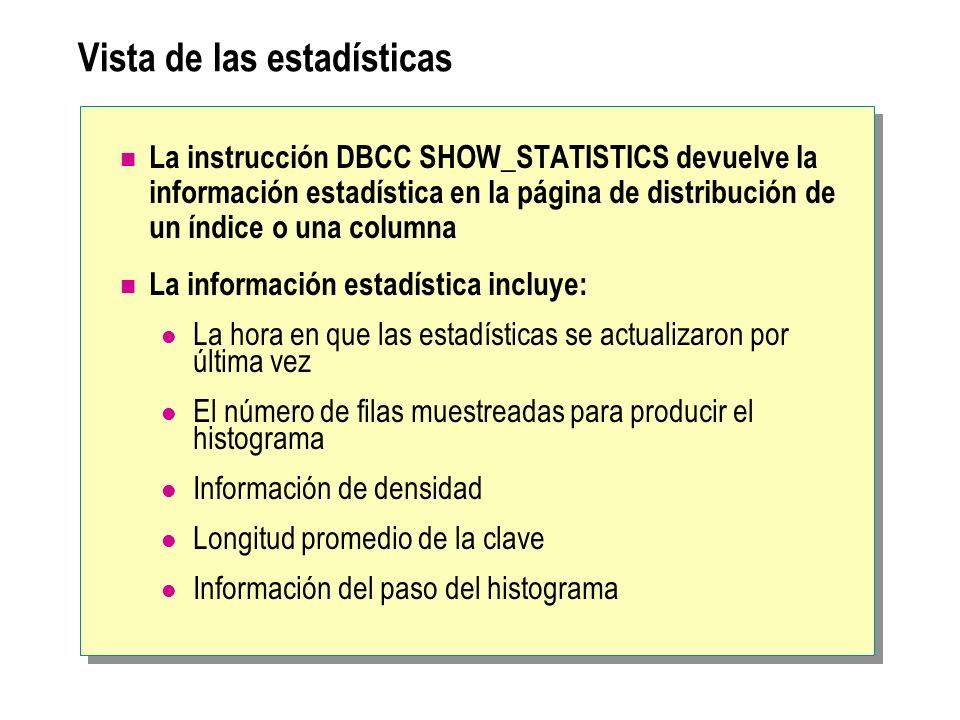 Vista de las estadísticas La instrucción DBCC SHOW_STATISTICS devuelve la información estadística en la página de distribución de un índice o una colu