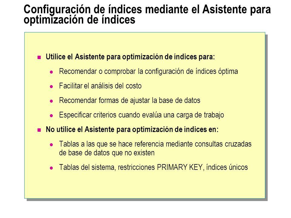 Configuración de índices mediante el Asistente para optimización de índices Utilice el Asistente para optimización de índices para: Recomendar o compr