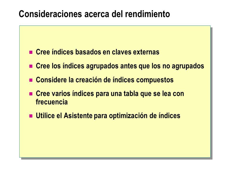 Consideraciones acerca del rendimiento Cree índices basados en claves externas Cree los índices agrupados antes que los no agrupados Considere la crea