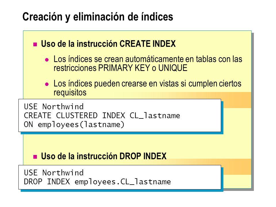 Consideraciones acerca del rendimiento Cree índices basados en claves externas Cree los índices agrupados antes que los no agrupados Considere la creación de índices compuestos Cree varios índices para una tabla que se lea con frecuencia Utilice el Asistente para optimización de índices