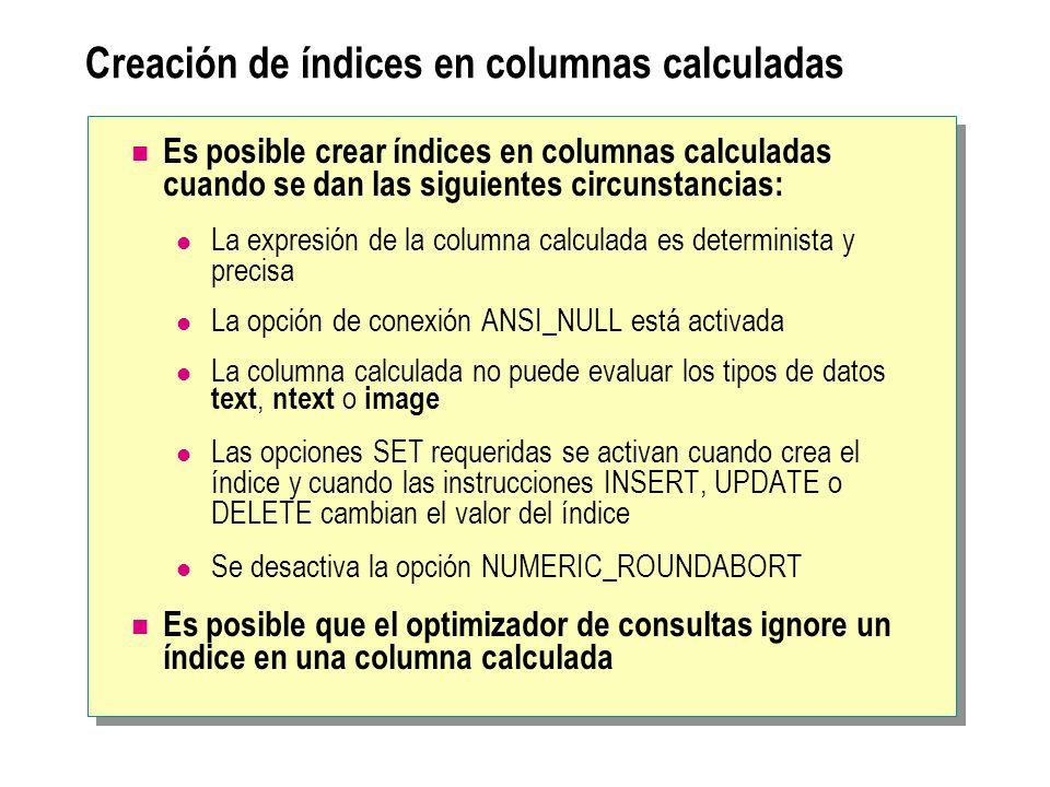 Cómo se recopilan las estadísticas Lee los valores de columna o una muestra de ellos Produce una lista de valores distribuida y ordenada uniformemente Realiza un recorrido completo o un muestreo de las filas Determina dinámicamente el porcentaje de filas que se van a muestrear en función del número de filas que hay en la tabla Selecciona muestras De la tabla o del índice no agrupado más pequeño creado con las columnas Todas las filas de la página de datos se utilizan para actualizar la información estadística