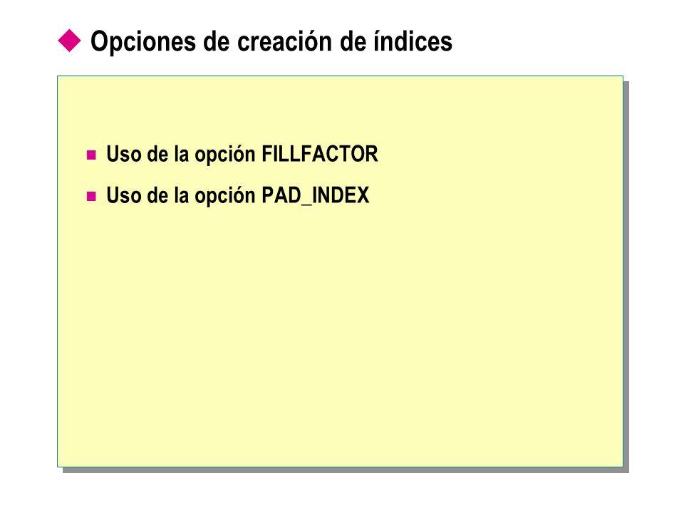 Opciones de creación de índices Uso de la opción FILLFACTOR Uso de la opción PAD_INDEX