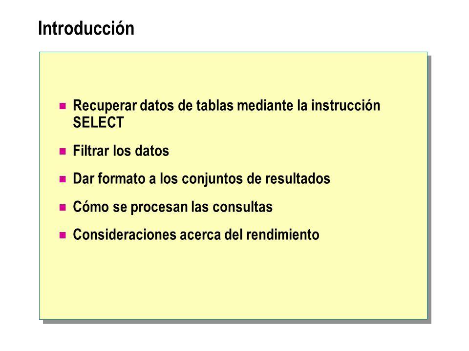 Introducción Recuperar datos de tablas mediante la instrucción SELECT Filtrar los datos Dar formato a los conjuntos de resultados Cómo se procesan las consultas Consideraciones acerca del rendimiento